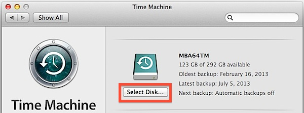 how to start a time machine backup