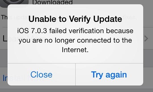 Unable to Verify Update error message on iPhone
